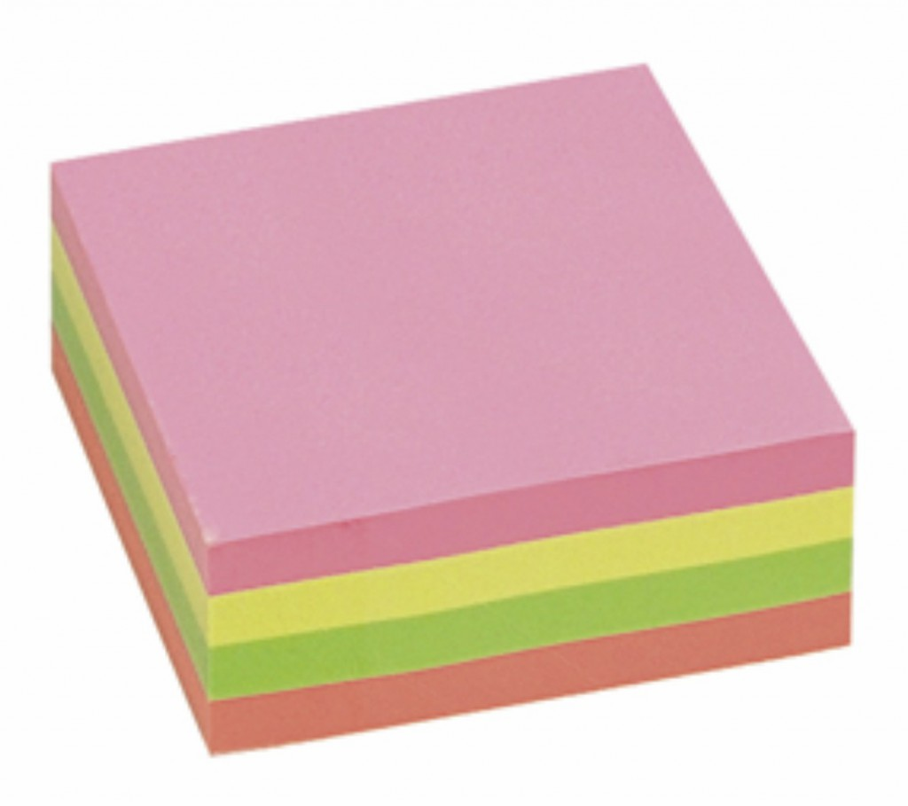 "Post it INFO NOTES 75x75, ""Kocka"", blistave boje, 320 listova"