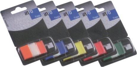 Page marker INFO FLAGS 4x12,5x43 mm, 4x36 transparent + 4 boje