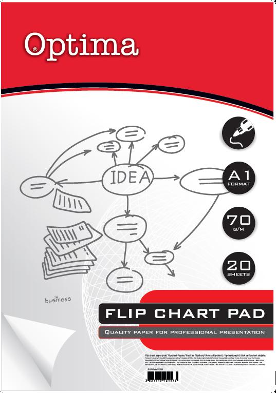 Papir za flip chart tablu, OPTIMA, dimenzije 70 x100cm, 70 gr. BLANKO, 20 LISTOVA